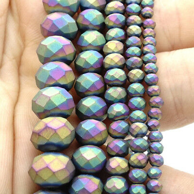 2018 new Rondelle Faceted Crystal Glass Loose Spacer Scrub Beads 3/4/6/8/10mm