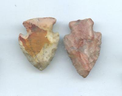 Indian Artifacts- 2 Nice Colored Flint Ridge Points-Arrowheads