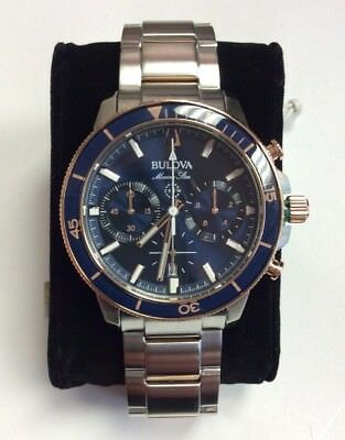 BULOVA Men's Marine Star Stainless Steel Blue/Rose Gold Chronograph WATCH 98B301