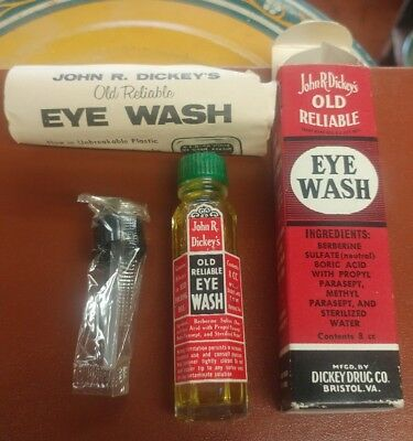 Vtg NOS Jack Dickey's Old Reliable Eye Wash sealed embossed glass bottle in box