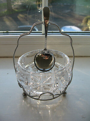 Vintage 1950s Chrome & Glass Sugar Preserve Bowl with Spoon vgc