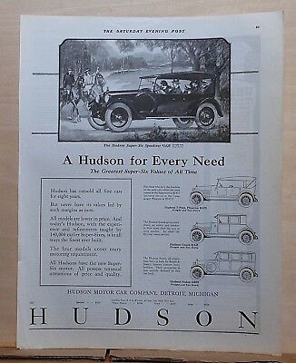 1923 magazine ad for Hudson - A Hudson for Every Need, 4 different models