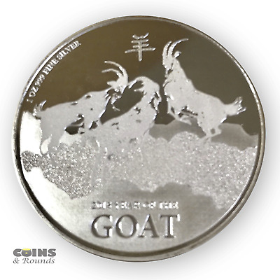 2015 New Zealand Mint $ 2 Niue Lunar Goat 1 oz .999 Silver Coin With Toning.