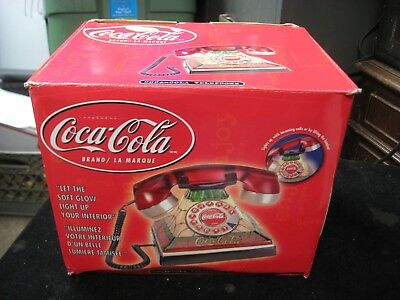 Coca Cola Stained Glass Look Light-Up Push Button Telephone Brand New NIB