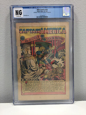 USA Comics #14 CGC NG Coverless Off White Pages Fall 1944 Timely Captain America