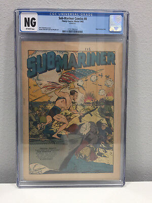 Sub Mariner Comics #8 CGC NG Coverless Off White Pages Winter 1942 Timely