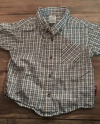 Gymboree Boys Short Sleeve Button Up Shirt Size 18-24 Months Black White