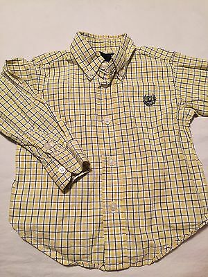 Chaps Ralph Lauren Boys Long Sleeve Button Up Shirt Size 18 Months Yellow