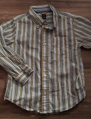 Baby Gap Boys Long Sleeve Button Up Shirt Size 5T Years White Yellow Blue