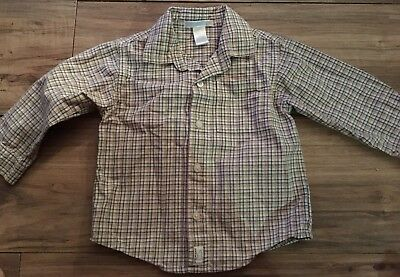 Janie And Jack Boys Size 18-24 Months Long Sleeve Button Up Shirt Tan Blue