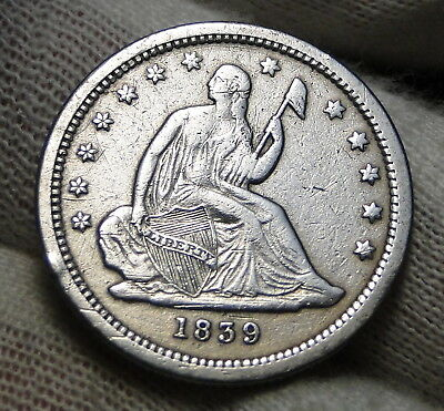 1839 Seated Liberty Quarter 25 Cents - Rare Key Date only 491,146 minted. (6811)