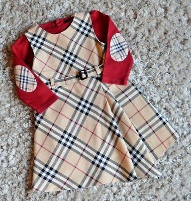 Burberry Baby Girl Designer Clothes Bundle Checked Dress & Tops 12-18 Months Vgc