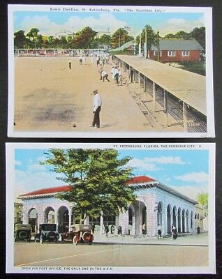 ST.PETERSBURG FL SUNSHINE CITY LOT OF 2 ANTIQUE PCs LAWN BOWLING POST OFFICE