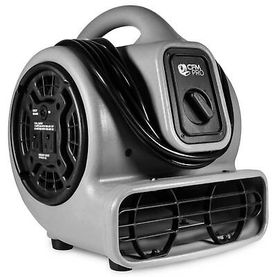 Air Mover 3 Speed 1/5 HP Blower Fan with 2 Outlets - Industrial - Grey