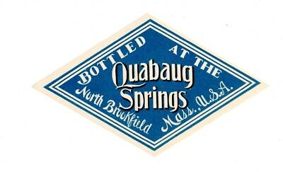 1900s QUABAUG SPRINGS CO, NORTH BROOKFIELD, MASSACHUSETTS MINERAL WATER LABEL