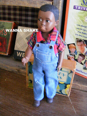 "Vtg Black Americana Ceramic Bisque Boy Doll W/Overalls-10""-Jointed-VG Cond."