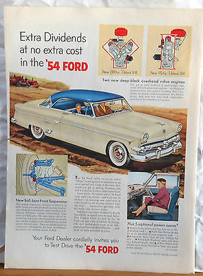 Vintage 1954 magazine ad for Ford - Deep block engines, ball joint suspension
