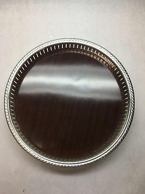 VINTAGE Silver PLATED Pierced Gallery Formica Serving TRAY English SILVER MFG
