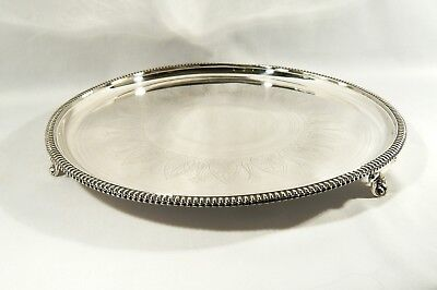 LARGE Celtic Design 1872 ELKINGTON Silver Plate ROUND Footed Salver Serving TRAY