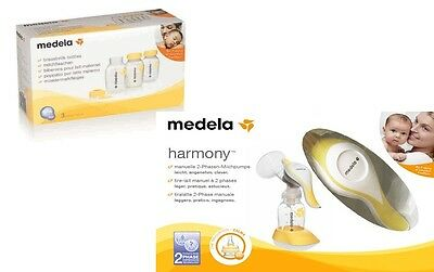 Medela Harmony Manual Breast Pump + Additional Milk Bottles Set New