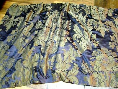 2  fragments French antique silk 19th-century purple silver fabric textile