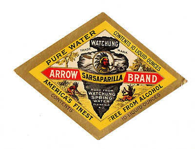 1890s WATCHUNG SPRING WATER CO, PLAINFIELD, NEW JERSEY ARROW MINERAL WATER LABEL