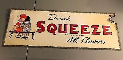 VINTAGE SQUEEZE SODA POP SOFT DRINK TIN SIGN approx 10x28 inch Advertising
