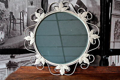 wrought iron wall mirror antique painted shabby chic metal flower round