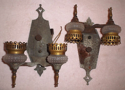 Pair Antique Hammered Arts & Crafts Twin Wall Sconce Light Gothic/Tudor/Medieval