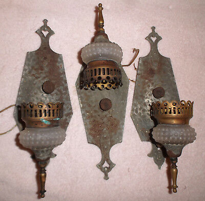 ANTIQUE HAMMERED IRON Candle Wall Sconce Arts & Crafts Chicago ...