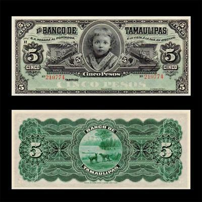1890 MEXICO TAMAULIPAS UNDER USA, 5 PESOS » CV $200 « ^Seq^ ~RARE~ CONSECUTIVE