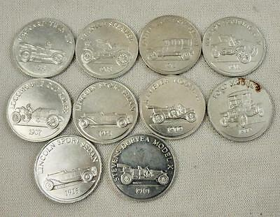 Lot of 10 Antique Car Coin Series 1 & 2 Sunoco DX Tokens