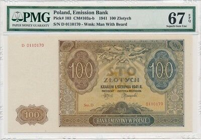 Emission Bank Poland  100 Zlotych 1941  PMG  67EPQ