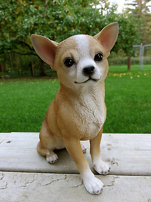 9 IN CHIHUAHUA DOG FIGURINE resin animal indoor outdoor statue PET PUPPY LIGHT B