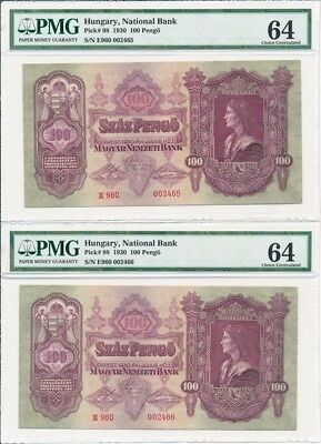 National Bank Hungary   100 Pengo 1930  PMG  64 2 Pcs in Cont. No