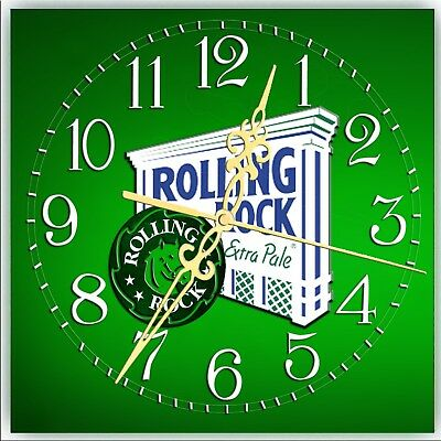 Cordless Artist Made Collectible Rolling Rock Beer Bar Clock