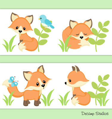 Woodland Fox Border Baby Nursery Animal Neutral Wall Art Decals Kids Room Decor