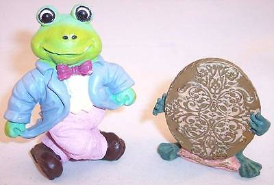 Lot of 2 Really Cute Resin Frog Figurines, Frog Prince & Tuxedo Frog