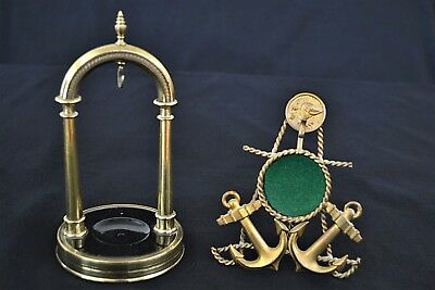 Two Vintage Antique Nautical Viking Watch Stands Holders Anchor & Pillar Style