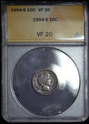 1904 s ANACS VF 20 Darkly Toned Barber Dime (rb1781)