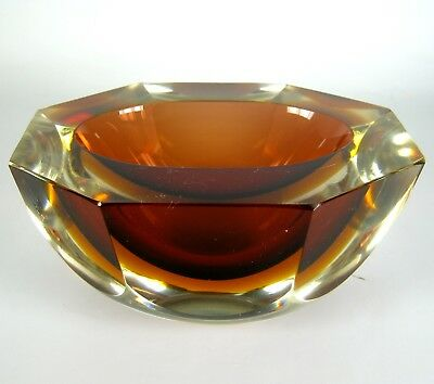 Murano Glas Aschenbecher Blockascher Glass Ashtray Seguso / Poli Sommerso Italy