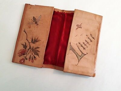 1890 Victorian Ladies Kid Leather Wallet. Hand-Made Design of Roses & 'LIZZIE'