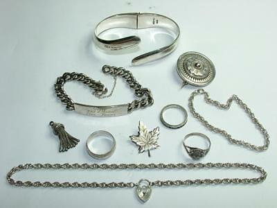 ANTIQUE & VINTAGE JOB LOT COLLECTION OF STERLING SILVER JEWELLERY RINGS 113g