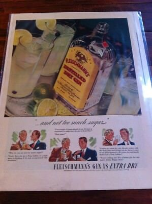 Vintage 1939 Fleischmann's Gin Extra Gin & Not To Much Sugar Print Art ad