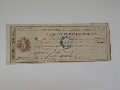 Antique Check 1876 Black White Boy Tippecanoe County Indiana Lafayette VTG