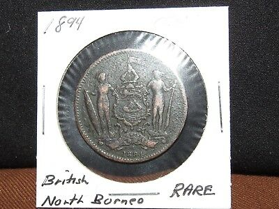 1894 Key Scarce Date British North Borneo Cent-AWESOME