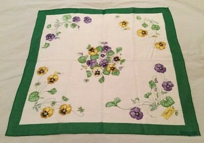 Rare Gucci Vintage Handkerchief Hanky Scarf W Pansy Pattern  19x19