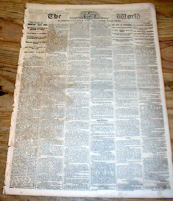 1862 NY World Civil War headline newspaper w BATTLE of FORT DONELSON Tennessee