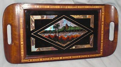 Vintage BUTTERFLY WINGS / Marquetry TRAY Made In Rio De Janeiro