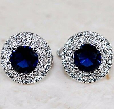 3CT Blue Sapphire & Topaz 925 Solid Genuine Sterling Silver Earrings Jewelry